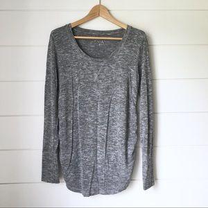LIZ LANGE Marled Grey Long Sleeve Top
